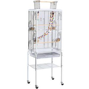 Yaheetech Transparenter Vogelkäfig mit Ständer für kleine Vögel/Sittiche/Wellensittiche rollender Vogelkäfig mit Spielzeug und Leiter