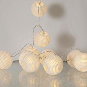 LED-Lichterkette 'Festival' - 10 weiße Lampions mit warmweißen LEDs - 1,35m - inkl Trafo mit 3m Kabel