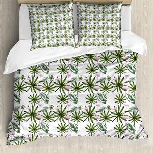 ABAKUHAUS Flamingo Bettbezug Set für Einzelbetten, Gebogene Neck Flamingo, Milbensicher Allergiker geeignet mit Kissenbezug, 155 cm x 200 cm - 80 x 80 cm, Blassrosa und Smaragd