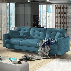 Selsey – Schlafsofa MASIME mit Schlaffunktion Bettkasten inkl. Kissen und Stoffbezug in Blau 235 cm