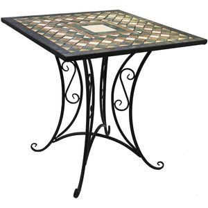Mosaik Gartentisch 70x70cm Gestell Eisen / Platte Keramik