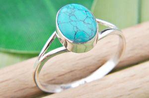 Türkis Ring 925 Silber Sterlingsilber Damenring blau grün (MRI 92-15),  Ringgröße:54 mm / Ø 17.2 mm