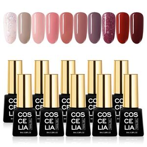 8ML UV Nagellack Shellac Set Nagelgel Farben Nude Shellac Nagellack Glitzern UV LED Soak Off  Pastell Gel Nägel Nagelgel Farben 10PCS Kit