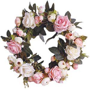 Deko Kranz Wandkranz Handgefertigt Kranz Für Outdoor Türkranz Rose Rebe Blumenkranz Künstliche Dekorative Landschaftsbau Kranz (Pinke Rose, Durchmesser 35cm)