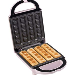 Bestron Waffeleisen für Waffelsticks, Waffelautomat im Retro Design, 460 Watt, Sweet Dreams, Rosa