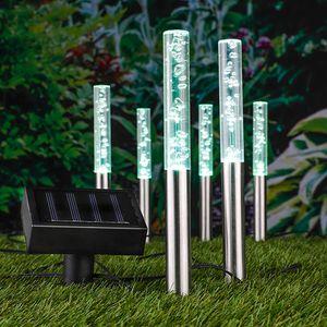 6er Garten LED Solar Lampen Leuchten Aussenleuchten Bubbles farbwechsel