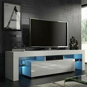 TV Schrank Lowboard Fernsehtisch Unterschrank mit LED Fernsehschrank Hochglanz 130 x 35 x 45 cm