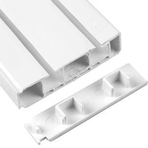 2er Pack Seitendeckel für Vorhangschiene, Endkappe für 2 Lauf Gardinenschiene mit Innenlauf, zum Abschluß der Innenlaufschiene