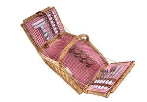 Pickinkkoffer für 4 Personen Weide eckige Form mit rotem Karostoff ausgeschlagen