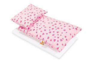 Puppenbettzeug für Puppenbetten 'Herzchen', rosa, 3-tlg.