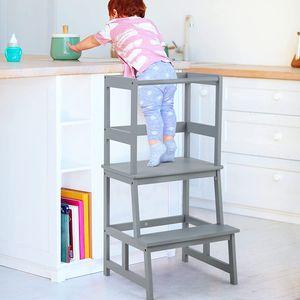 GOPLUS Kinder Tritthocker, 2 Stufen Lernturm, Lerntower, aus Bambus, bis zu 70kg Belastbar, für Kinder von 18-36 Monaten (Grau)