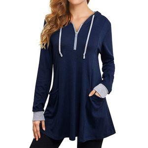 Damen Kapuzenpullover Langarm Casual Top Shirt Jacke,Farbe: Königsblau,Größe:XXL
