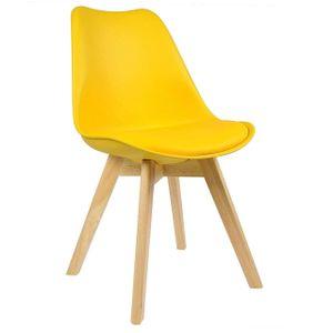 WOLTU 1 x Esszimmerstuhl 1 Stück Esszimmerstuhl Design Stuhl Küchenstuhl Holz Gelb