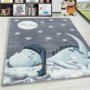 Kurzflor Kinderteppich Dino Wolke Kinderzimmer Babyzimmer Teppich Soft Grau Blau, Farbe:Blau, Grösse:160x230 cm