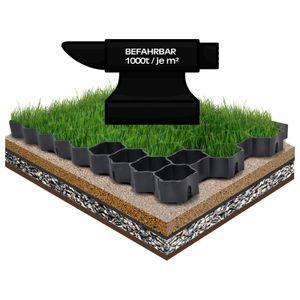 12x Rasengitter 49,5x49,5x4 cm Schwarz Rasengitterplatten Rasenwaben Rasenmatten mit Bodenkreuzen Bodenwaben 12 Stück (2,97 m²)