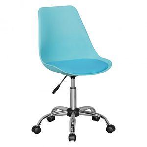 AMSTYLE KORSIKA | Drehstuhl Kunstleder Blau | Drehsessel Wartezimmerstuhl | Schreibtischstuhl Rückenlehne verstellbar