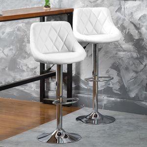 2er Set  Barhocker mit Lehne  aus Kunstleder 360° drehbar höhenverstellbar - Barstuhl, Küchenhocker weiß