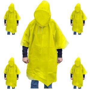 5 Stück Regenponcho gelb mit Kapuze Fahrrad Poncho Regencape Regenjacke Regenmantel Regenbekleidung Regenumhang Wasserdichter Regen-Poncho Regenschutz zum Wandern Fahrrad fahren und Reisen (Gelb)