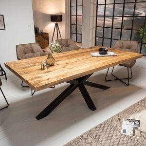 Massiver Industrial Esstisch GALAXIE 180cm Mangoholz sternenförmiges Gestell Massivholz Holztisch Tisch