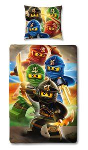 Wende Bettwäsche Set Lego Ninjago Quatrant 135x200cm + 80x80cm Linon 100% Baumwolle