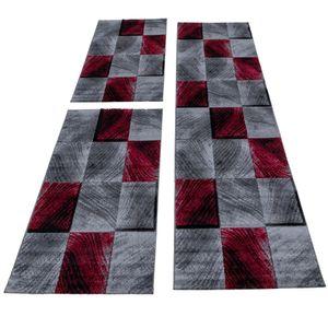 Teppich Bettumrandung 3 Teile Kurzflor Läufer Set Karo Muster Rot Grau Meliert, Bettset:2 x 80x150 cm + 1 x 80x300 cm