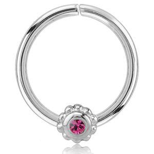 viva-adorno Knorpel Piercing Ring Kristall Ohrpiercing Helix Cartilage Tragus Nasenring 316L Chirurgenstahl verschiedene Farben Z489,Ring 1x silber / pink