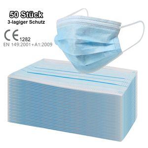 50 Stück 3-lagig Einweggesichtsmaske OP-Maske Mundschutz Staubschutz Infektionsschutz Schutzmaske Atemschutzmaske mit Ohrschlaufen (Modell: PU472)