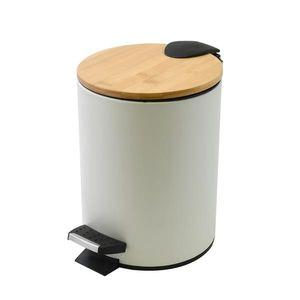 Spirella Kosmetikeimer 3 Liter Edelstahl Bambus mit Absenkautomatik und Inneneimer Adonis Badezimmer Mülleimer Softclose Abfalleimer Weiß