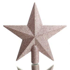 Bruchfeste Weihnachtsbaumspitze Stern Puderrosa mit Glitter aus Kunststoff