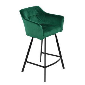 Retro Barstuhl LOFT 100cm Samt grün Barhocker mit Armlehne Tresenhocker Barsessel
