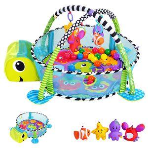 SILUK 3in1 Schildkröte Erlebnisdecke, Bällebad, Krabbeldecke, Spielbogen, Spieldecke, Lernmatte