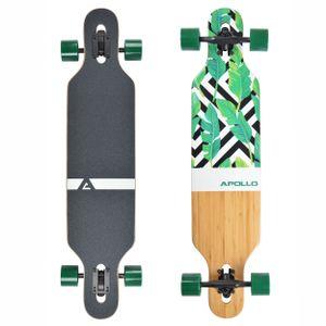 "Apollo Longboard ""Flores"" Twin Tip DT Komplettboard 99,5 x 22 cm 6 Lagen Holzdeck (Bottom Bambus)"
