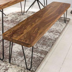 WERAN Esszimmer Sitzbank Massiv-Holz Sheesham Holz-Bank Natur-Produkt Küchenbank im Landhaus-Stil