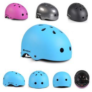 Byox Kinder Schutzhelm für Skater Y09, Größe M, einstellbar 54-58 cm, 11 Löcher blau