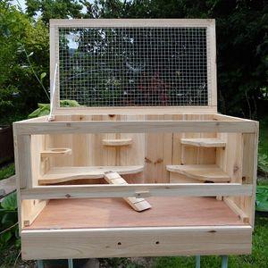 Käfig aus Holz Hamsterkäfig Mäusekäfig Rattenkäfig Nagerstall Gehege WOW