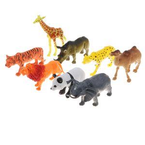 8er-Set Miniatur Tier Modell Spielfiguren Sammelfiguren mit Tiger Löwe Giraffe Panda Kamel Elefant Nashorn und Leopard Figuren