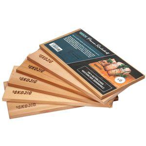 6er Pack Räucherbretter aus kanadischen Zedernholz | ca. 28x14x1cm Grillbretter bw. BBQ-Bretter ideal für Fisch Gemüse Fleisch | Räucherplanken für mehr Aroma & echtes Geschmackserlebnis | Lachsbretter Garen Raucharoma Räuchern Zedernholzbrett