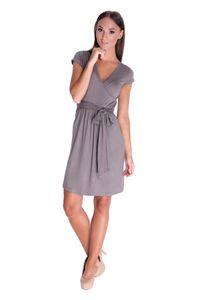 Damen MAMA Schwangerschaftsmode Umstandsmode elegantes Kleid mit Kordel Schleife Wickelkleid Kurzarm Dress Gr. XS-3XL 5416