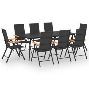Neues Produkt 9-teiliges Garten-Essgruppe – Gartengarnitur Sitzgruppe Sitzgarnitur, 6 Sühlen & Esstisch, für 8 Personen, Schwarz und Braun
