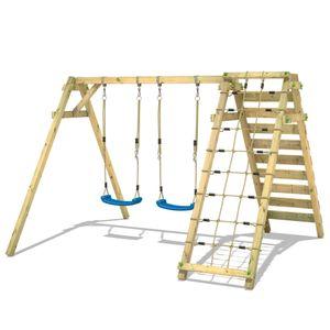 WICKEY Kinderschaukel Schaukelgestell Smart Cliff Schaukel, Schaukelgerüst, Doppelschaukel, Holzschaukel mit Kletteranbau