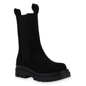 Mytrendshoe Damen Stiefel Plateaustiefel Blockabsatz Profil-Sohle Schuhe 835771, Farbe: Schwarz Velours, Größe: 39