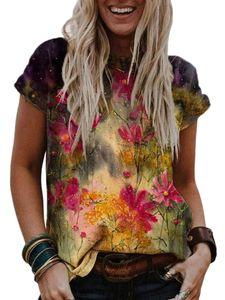 Lose Kurzarm-T-Shirt mit lässigem Oberteil und Blumendruck für Damen,Farbe: Pink,Größe:M