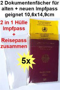 5x SCHUTZHÜLLE DOKUMENTENHÜLLE 2in1 für Reisepass + Impfausweis alt +  neu KLARSICHTHÜLLE KLARSICHTVERPACKUNG  AUSWEISHÜLLE Impfpasshülle Ausweismappe DIN A6