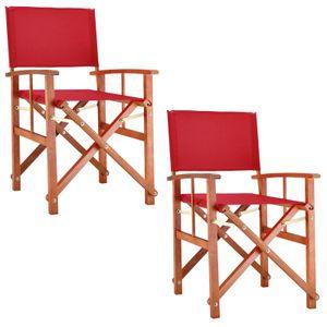 Casaria Gartenstuhl Cannes FSC®-zertifiziertes Eukalyptusholz Klappbar Faltbar Regiestuhl Klappstuhl Holz Garten, Farbe:2x rot