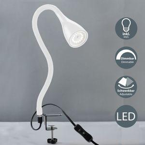 LED Klemmleuchte dimmbar inkl. GU10 5W 400lm warmweißes Leuchtmittel Flexibel Schwanenhals Leselampe B.K.Licht