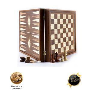 2-in-1-Combo-Schach-Backgammon im klassischen Stil 27 x 27 cm  Spitzenqualität