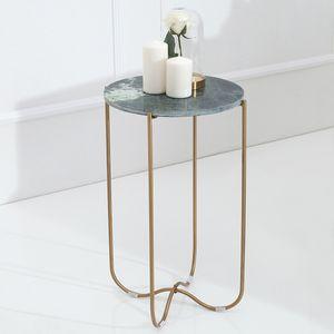 cagü: Design Beistelltisch [FLORENTIN] Grün aus Marmor mit Gold Gestell 35cm Durchmesser