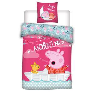 Peppa Wutz Pink - Baumwoll-Bettwäsche Pink - Set 100x135 40x60cm