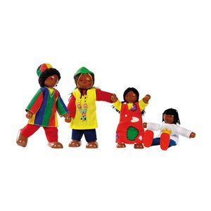 goki 51817 Biegepuppen Afrikanische Famile, mehrfarbig (1 Set)