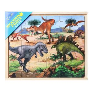 1x 4-in-1 Holzpuzzle-Set Farbe Dinosaurier
